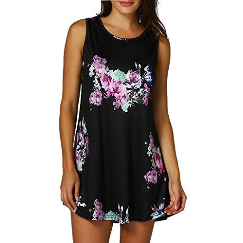 OYSOHE Womens Casual Floral Print Sleeveless Vest Shirt Tank Blouse Tunic Tops