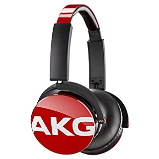 AKG Y50 Portable Foldable On-Ear Headphones Earphones with Detachable Cable and In-line Volume Remote/Microphone - Red