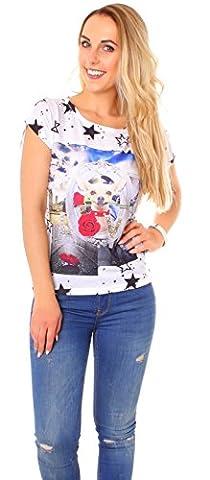 Damen Sommer T-Shirt Top Kurzarm mit Aufdruck Hund weiß/bunt One Size (One Size, Chihuahua)