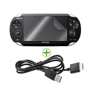 EXINOZ® Playstation PS – Ladegerät für Vita-Ladegeräte und Schutzfolien | 1,2 m USB-Datenübertragungs- und Sync-Ladegerät mit Nano-Glasschutzfolie | Hohe Qualität und Schutz mit 1-jähriger Garantie