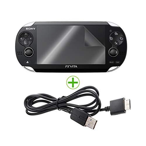 EXINOZ® Playstation PS - Ladegerät für Vita-Ladegeräte und Schutzfolien   1,2 m USB-Datenübertragungs- und Sync-Ladegerät mit Nano-Glasschutzfolie   Hohe Qualität und Schutz mit 1-jähriger Garantie