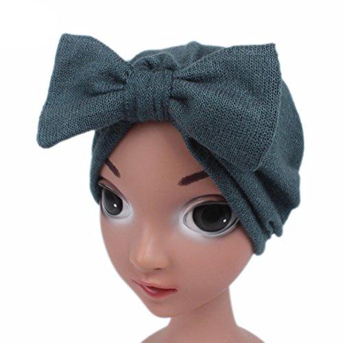 LuckyGirls Kinder Baby Mädchen Boho Hut Schmetterlingsknoten Kaschmir Turban Kopf Wrap Cap Haarschmuck (Blau)