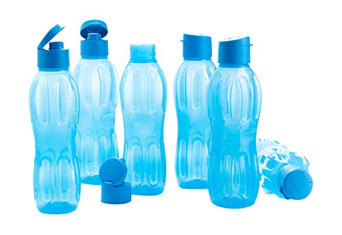 Signoraware Fliptop Aqua Plastic Bottle Set, Set of 6, 1 Litre, Blue