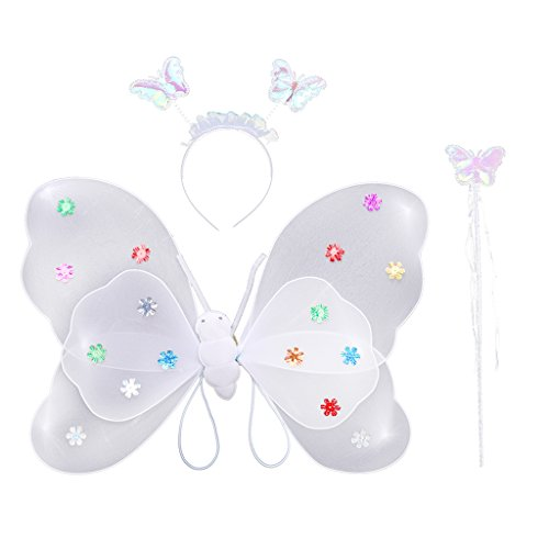 Fee Weiße Kind Kostüm - MagiDeal Glitzer Schmetterling Flügel mit Zauberstab Stirnband Set - Feen Kostüm Kinder - Weiß