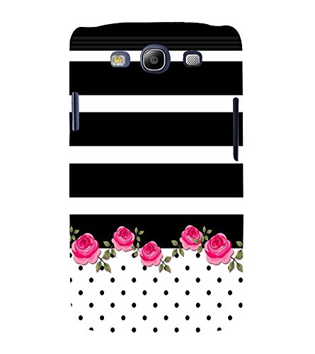 Fiobs Designer Back Case Cover for Samsung Galaxy S3 Neo I9300I :: Samsung I9300I Galaxy S3 Neo :: Samsung Galaxy S Iii Neo+ I9300I :: Samsung Galaxy S3 Neo Plus (Black Kala Stripes Lines White Dots)