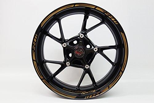 Felgenrandaufkleber 720000 Rim Stripes GP-Style - Golden/Bronze Metallic Stripes - komplett Set - für 16 Zoll, 17 Zoll und 18 Zoll (9 mm Breite Felgenstreifen) - für 2 Motorrad-/ oder 4 Autofelgen Golden Rim