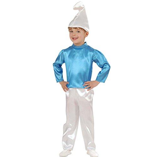 Blauer Schlumpf Kostüm Zwergenkostüm Kinder 98 cm 1-2 Jahre Baby Schlumpfkostüm Zwerg Kinderkostüm Comic Zwergkostüm Gnom Faschingskostüm Karneval Kostüme (Baby Kostüm Gnom Jungen)