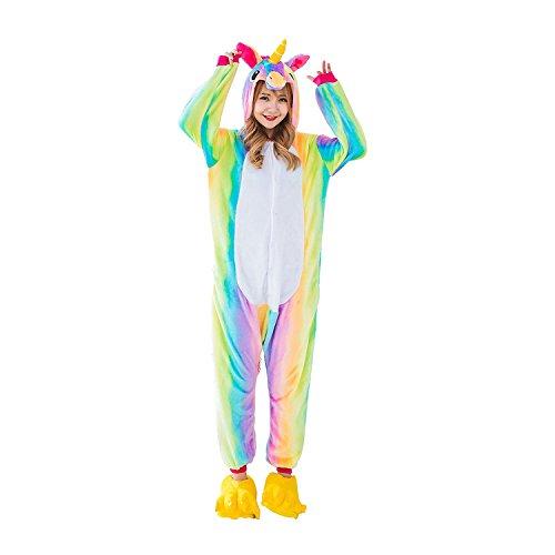 Süßes Einhorn Overalls Jumpsuits Pyjama Fleece Nachtwäsche Schlaflosigkeit Halloween Weihnachten Karneval Party Cosplay Kostüme für Unisex Kinder und Erwachsene (S, Regenbogen Einhorn)