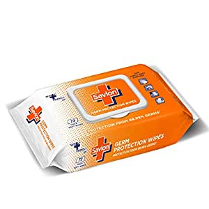 Savlon Germ Protection Wet Wipes - 72 Wipes   Multi Purpose   Fights Germs on Hands, Body and Surfaces   Easy to Carry   Use at home, office, in car and out of home