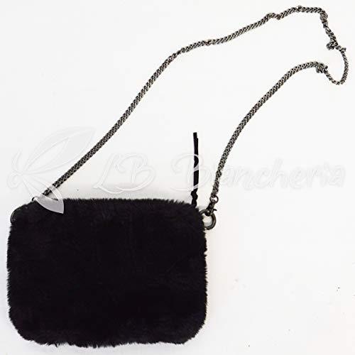 R.p. borsa borsetta - pochette in ecopelliccia - con tracolla - nero