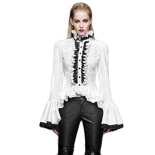 Steampunk Winter White Blouses Gothic Victorian Punk Women Flare Sleeve Shirts (L, White)