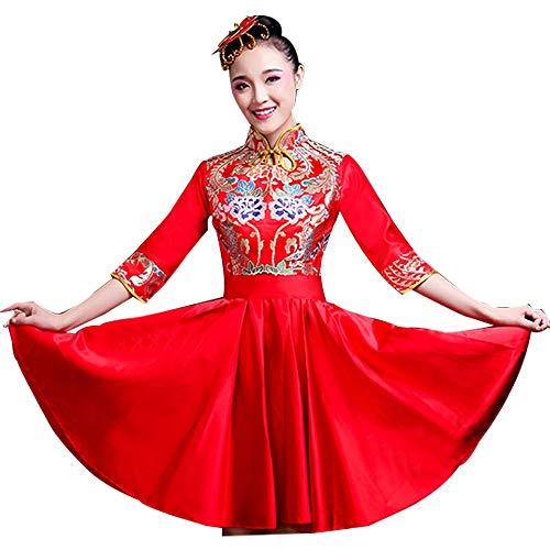 Xiao Jian- Guzheng Kostüm Erwachsene Chor Anzug Modern Dance Kostüm Sopran Tanz Wasser Trommel Anzug Frauen Rot Tanzuniform (Farbe : A, größe : S) (Show Chor Tanz Kostüm)