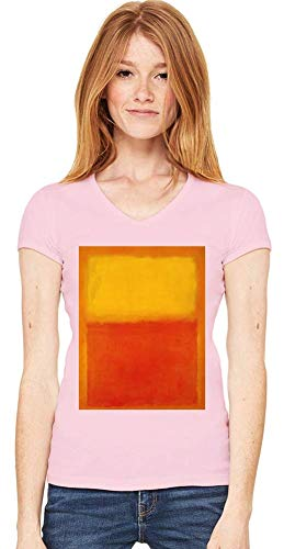 Top Paintings of All Time Mark Rothko - Orange and Yellow Painting Women V-Neck T-Shirt Stylish Fashion Fit Custom Apparel by XX-Large -