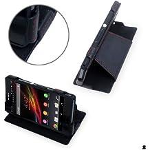 Manna - Funda/soporte de piel genuina para Sony Xperia Z L36h - Color negro