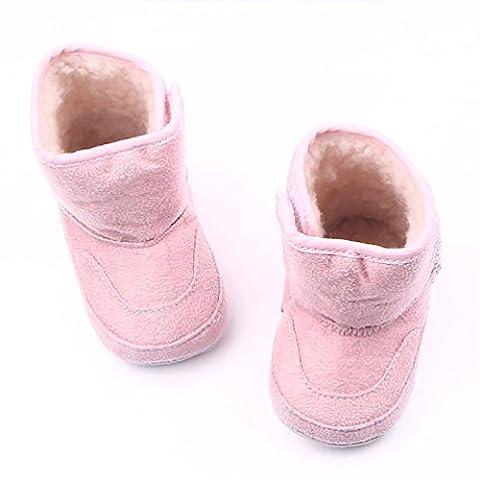 LvRao Neugeborenes Baby Stiefel Winter Herbst Angenehm Weiche Säugling Schuhe Krabbelschuhe für Kleine Babys Rosa Äußere 11.5cm, Innere 11cm