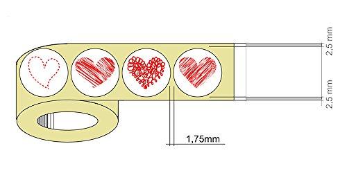 1,000 Pequeño Pegatinas De Corazón De Corazones 4 Diseños En 1 Roll - 250pcs. El Corazón Rojo Etiquetas Diseños De Cada Estilo ( Style 1 )