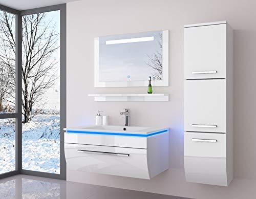 Salle de bain avec un miroir armoire suspendue Atlantis brillant laqué avec éclairage, Ensemble de meubles lavabo blanc 90 cm