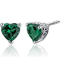 Revoni 1.50 Carats Emerald Heart Shape Stud Earrings in Sterling Silver Rhodium Finish