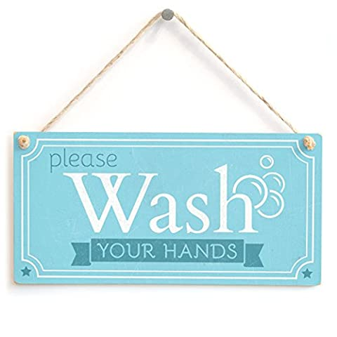 Please Wash Your Hands - Handmade Shabby Chic Wooden Sign / Plaque