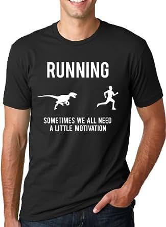 Running Motivation Raptor Shirt Funny Dinosaur Tee to Motivate Runners S
