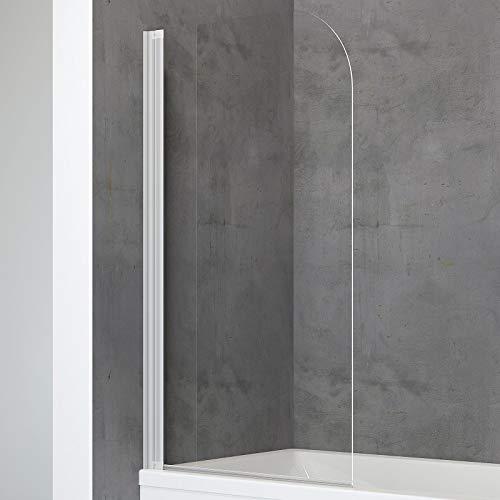 Schulte Duschwand Berlin einfach zum kleben, 81 x 140 cm, 5 mm Sicherheitsglas klar, alu-natur, Duschabtrennung für Badewanne