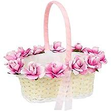 Elegante Cesta Artesanal para Arras, Pétalos o Anillos de Boda con Flores Rosas. Complementos