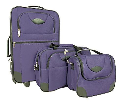 ABC Home Living Reisekoffer Reisetaschen Trolley 3er Set Koffer-Set, 57 cm, 40.0 L, Violett
