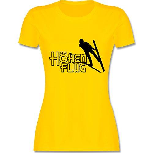 Wintersport - Ski Höhenflug - tailliertes Premium T-Shirt mit Rundhalsausschnitt für Damen Gelb