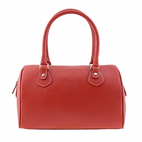 bowling bag in pelle stile Rosso