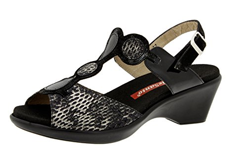 Chaussure femme confort en cuir Piesanto 6857 sandale semelle amovible chaussure confortables amples Noir
