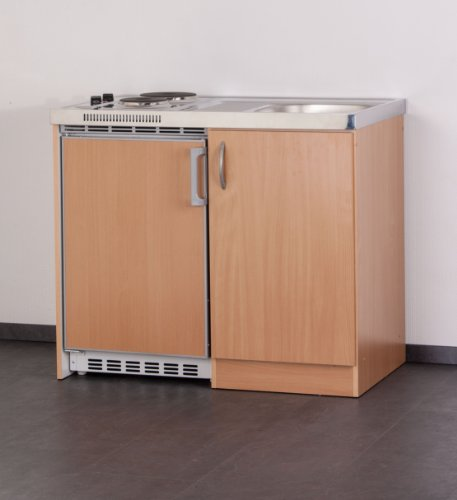 MEBASA MEBAKB100OOS Miniküche Komplettküche 100 cm in Buche, Unterbaukühlschrank und Doppel-Kochplatte