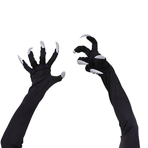 Halloween Finsink Lange Krallen Handschuhe Halloween Kostüm (schwarz,ein (Dämon Kostüm Handschuhe)