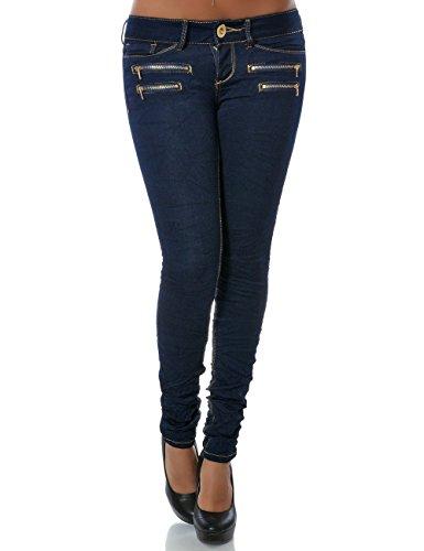 Damen Jeans Hose Skinny (Röhre weitere Farben) No 14089, Farbe:Navy;Größe:38 / M