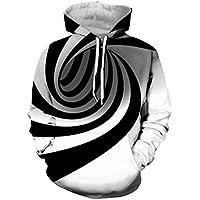 Negro y Blanco Impresión de vértigo Sudadera 3D Unisxe Divertida ilusión óptica ...