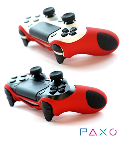 2 x PAXO silicone sleeves red colour + 4 analog cups / thumb grips for PS4 (Playstation 4) controller - bundle