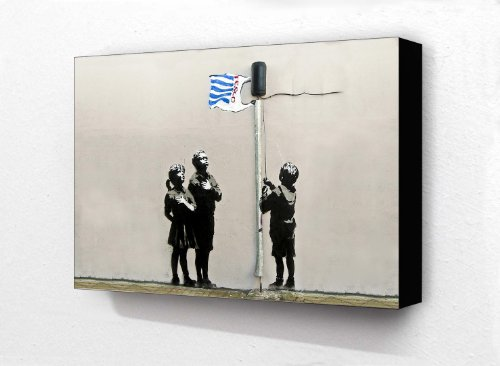 Banksy Tesco Flag Kids Horizontal 6 x 4 Inches Postcard Size Block Mounted Print by Laminated Posters