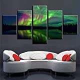 Quadro HD Stampa Immagini modulari 5 Pannelli Bellissima Aurora Boreale Wall Art Poster Modern Home Decor Living Room