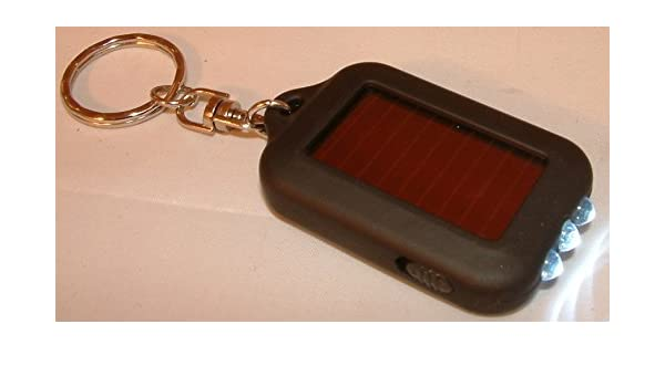 1X Hot Solar Power 3 LED-Licht Schlüsselanhänger Taschenlampe Schwarz .