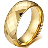 Unisex gold ring with crystal made of tungsten and sealing inside is size 7