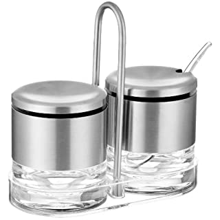504675 Accenta coffee whitener and sugar set with spoon, stainless steel