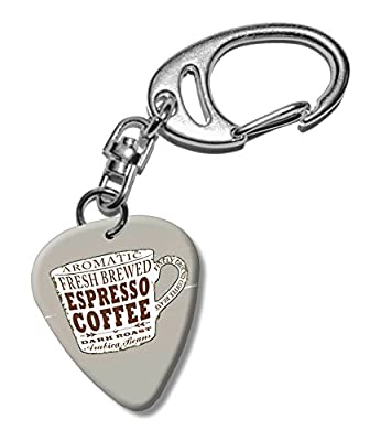 Espresso Coffee Cup Martin Wiscombe Guitar Pick Keyring Vintage Retro from Printed Guitar Picks