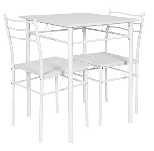 Ts-ideen set 3 pezzi tavolo 60x60 cm con 2 sedie in alluminio e mdf color bianco per cucina o sala da pranzo