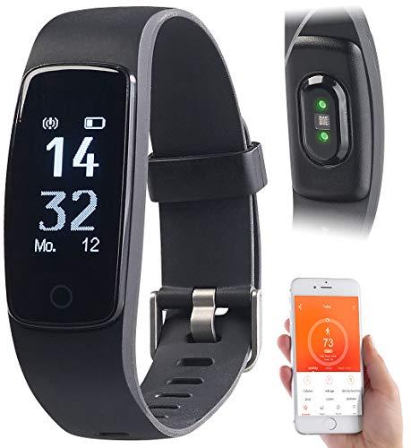 Newgen Medicals Fitnessuhr wasserdicht: Premium-GPS-Fitness-Armband mit XL-Touch-Display, 14 Sportarten, IP68 (Fitnessarmband wasserdicht)