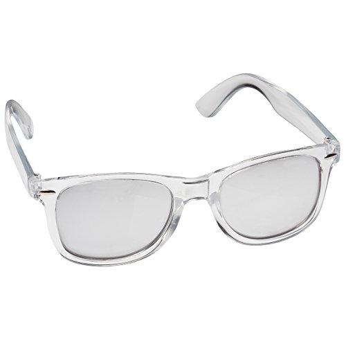 Nerd Sonnenbrille im Retro/Vintage Stil, unisex Brille (transparent und silber verspiegelt)