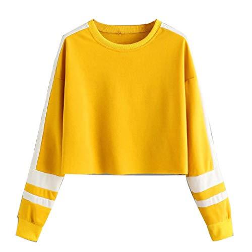 ABsoar Sweatshirt Damen Langarmshirt Patchwork Streifen Pullover Rundhals Bluse Tops Lässiges Pulli Oberteile Jumper