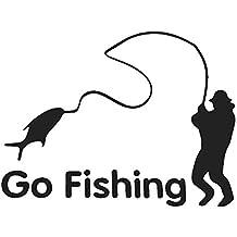 Ir A La Pesca Deportiva Extraíble Etiqueta Engomada Del Coche Del Vinilo Del Arte Etiqueta Del Coche De La Decoración De DIY Negro