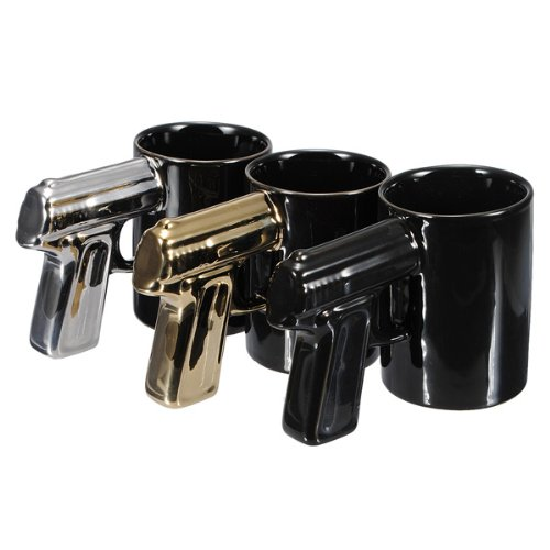 Bluelover Kreative Plating Behandeln Pistole Mark Tasse Keramik Kaffee Tasse Gun Becher - Golden (Wc-sitz-kaffee-tasse)