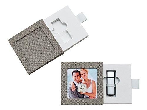 USB-Box/Schuber. Leinenstoff Color Grau