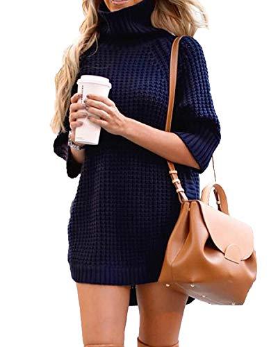 Turnglam Pullover Damen Turtleneck Sweatshirt Lang Oberteile Damen Oversize Gestrickter Pulli Lässige Strickpullover(EU(34-36), Dunkelblau) -