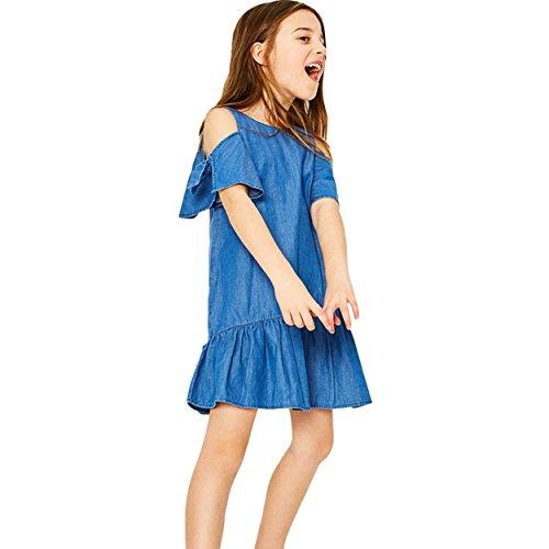 LSERVER Schulterfrei Kleid Mädchen Minikleid Blau Partykleid Sommer Jeans Kleid Kinder Kurze Rock,134(Herstellgröße 140cm)